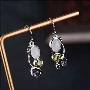 Jewelry - Moonstone Amethyst silver plated earrings 🐝